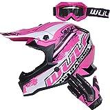 Wulfsport, casco per bambini Flite per motocross e fuoristrada, con occhiali e guanti Leopard