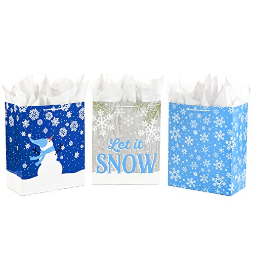 Hallmark 13' Large Holiday Gift Bag Assortment with Tissue Paper (Pack of 3: Blue, Snowflakes, Snowman) for Christmas or Hanukkah Gifts