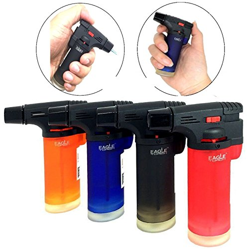 Pack of 4 Eagle Jet Gun Torch Lighter Windproof Refillable Lighter Assorted Color