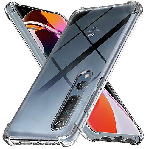 Ferilinso Hülle für Xiaomi Mi 10 and Xiaomi Mi 10 Pro 5G Hülle, [Version mit Vier Ecken verstärken] [Kamerapflegeschutz] Stoßfeste, weiche TPU-Silikonhülle aus Gummi (Transparent)