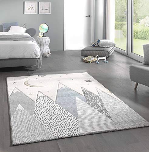 Kinderteppich Teppich Kinderzimmer mit Bergen in Pastel Blau Grau Größe 120x170 cm