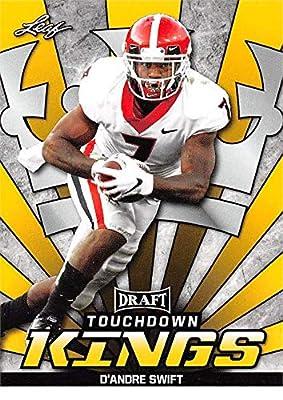 D'Andre Swift Football Card (Georgia Bulldogs, Detroit Lions) 2020 Leaf Draft Touchdown Kings GOLD #78 Rookie RC