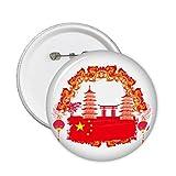 DIYthinker Botón de China Torre Nacional de Bandera Roja Lanttern puerta china pernos redondos Placa Ropa Decoración 5Pcs regalo XXL Multicolor