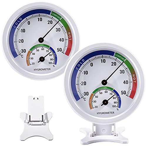 Analoges Thermometer und Hygrometer - 2 in1 Gewächshausthermometer Verwendet Für Innen- und Außenthermometer und Hygrometer, Keine Batterie Erforderlich, Für Küche, Häuser,Büro 2 Pack (Weiß)