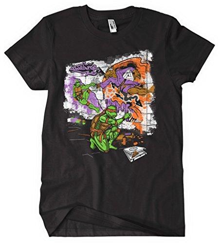 Teenage Mutant Ninja Turtles TMNT Heroes 80er Cartoon Movie Tshirt Turtles Graffiti schwarz Gr. XL, schwarz