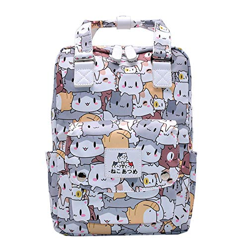 Neko Atsume School Backpack Lovely School Backpack Handbag Casual Backpack Canvas Backpack Printed Backpack Sports Backpack (Color : A02, Size : 28 X 10 X 34cm)