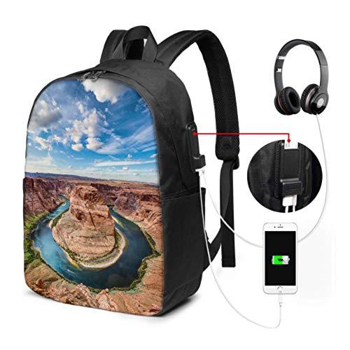 Damen Laptop Rucksack Amerika Der Grand Canyon Landschaft Kompakter Laptop Rucksack mit USB-Ladeanschluss und Kopfhöreranschluss für College-Arbeitsreisen