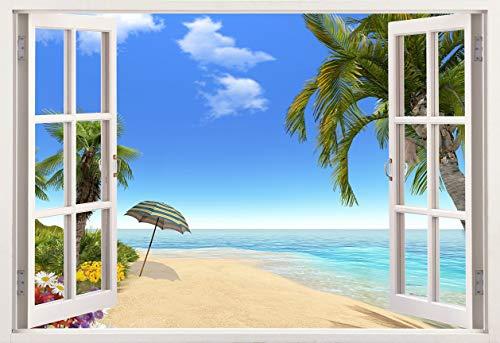 Pegatinas de vinilo para pared de Mi Alma 3D extraíbles, diseño de marco de ventana, amplia variedad de vistas realistas, fáciles de aplicar, adhesivos de pared incomparablemente duraderos