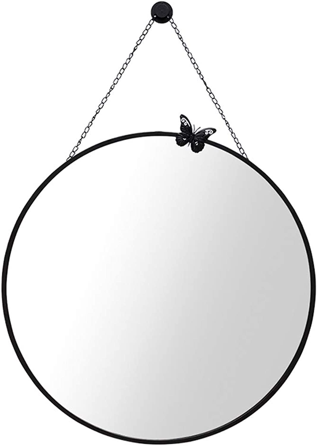 Makeup Mirror Metal Frame Wall-Mounted Circular Vanity Mirrors with Chain 40 cm(16Inch) Diameter Decorative Shower Shave Mirror for Entrance Hall Bathroom