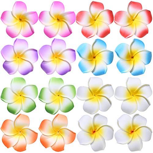 Flower Hair Clips Hawaiian Hawaii Hair Clip Set Plumeria Hibiscus Barrettes Women Girls Baby Foam Wedding Vacation Beach Party Decorations Cosplay Costume Handmade Hair Accessories Plumeria 16 Pack