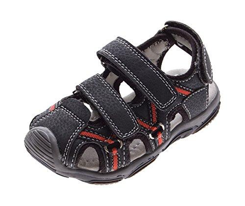 Magnus Kinder Sandalette geschlossen Leder Innensohle Schuhe Schwarz Klettverschluss Gr. 29