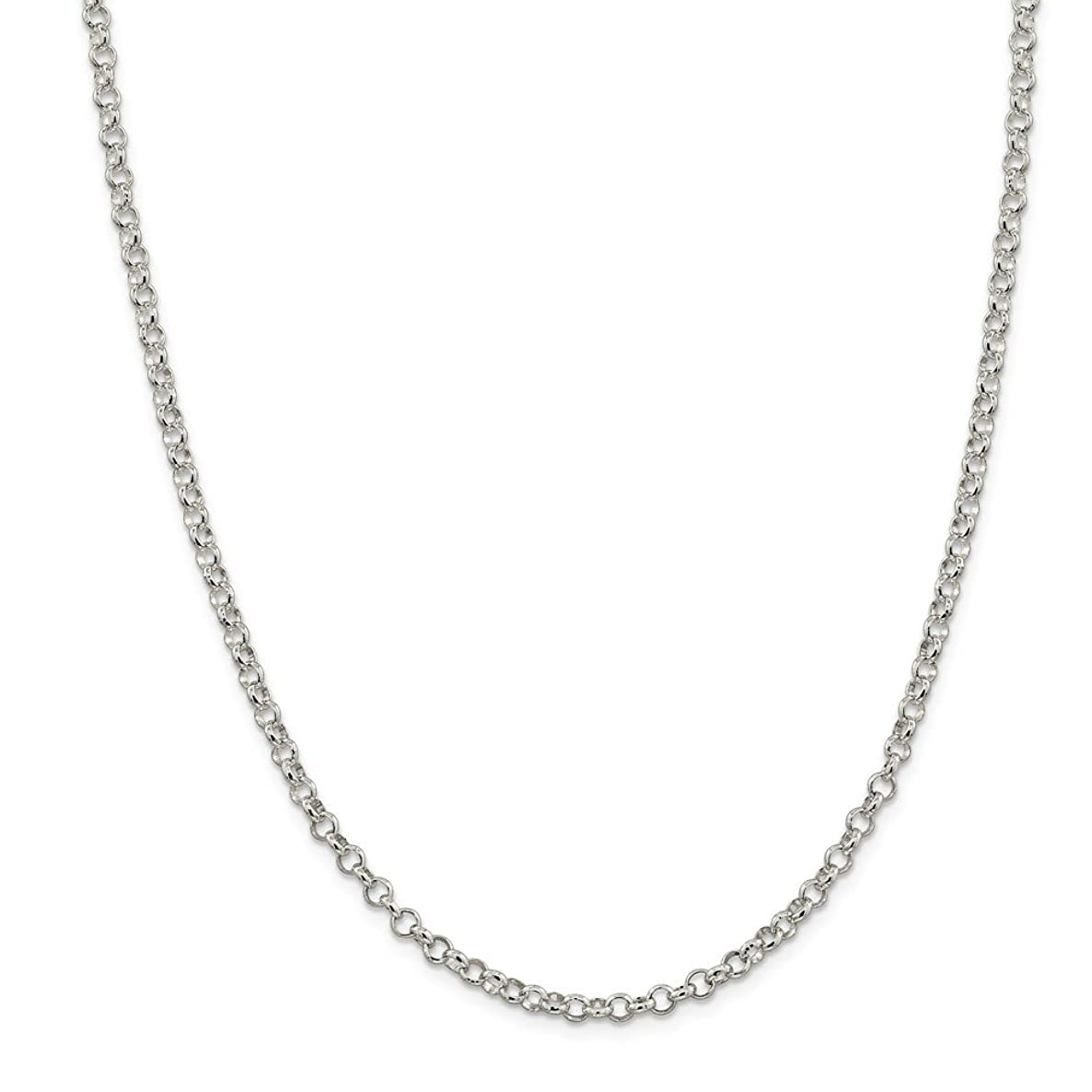 Sterling Silver Polished Lobster Claw Closure 4.0mm Rolo Chain Necklace - Lobster Claw - Length Options: 16 18 20 24 30 36