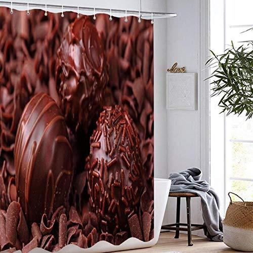 Brandless Schokoladenduschvorhang Badezimmervorhang 3D-Druck Wasserdicht Köstlich Bunt Kuchen Kuchen Duschvorhang-B180xH180cm