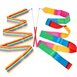 ANCIRS 2 Pack 2-Meter Dance Ribbons, Rainbow Streamers Rhythmic Gymnastics Ribbon, Baton Twirling Wands on Sticks for Kids Artistic Dancing