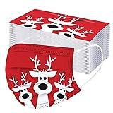 50PCS Adulto Cara_𝐌𝐚𝐬𝐜𝐚𝐫𝐢𝐥𝐥𝐚𝐬 Desechables de Navidad Transpirables con Elástico para Los Oídos para Deportes Al Aire Libre, Escuelas, Oficinas Lonshell