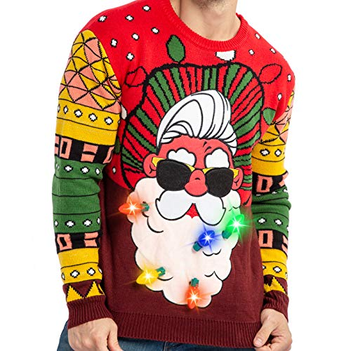 Men's Santa Llama Christmas Holiday Ugly Sweater with Built-in Light-up Bulbs (X-Large, Red Yellow)
