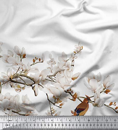 Soimoi Weißer Voilestoff Aus Baumwolle Weißer Blumen- & Bulbul-Stoff Mit Vogelmotiv, 60 cm Breit