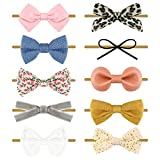 Baby Girl Headbands with Bows Nylon Hairbands Handmade Hair Accessories for Newborn Infant Toddlers 10 Pack