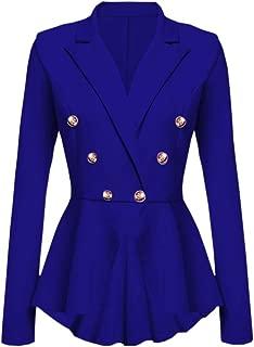 Long Sleeve Blazer Ruffles Peplum Button Casual Jacket Coat Outwear Women