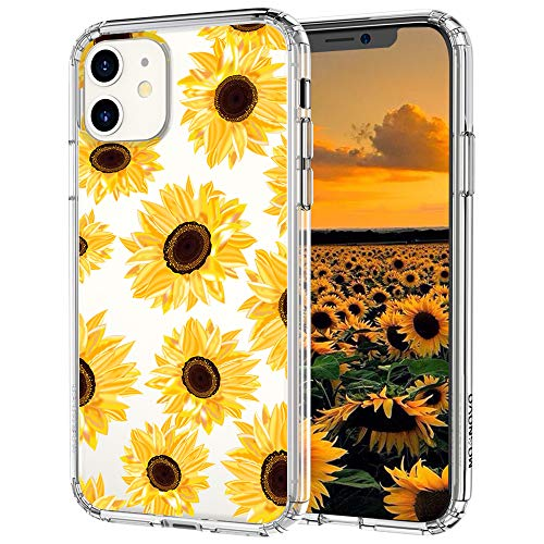 MOSNOVO iPhone 11 Case, Sunflower Floral Flower Pattern Clear Design Transparent Plastic Hard Back Phone Case with TPU Bumper Protective Case Cover for Apple iPhone 11 (2019)