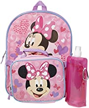 Minnie Mouse Backpack Combo Set - Minnie Mouse Girls 4 Piece Backpack Set - Backpack, Lunch box, Water Bottle and Carabina (Minnie Mouse 4PC)