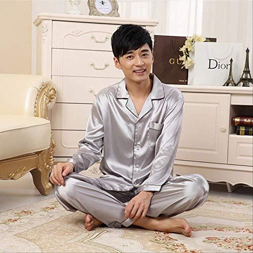 Solid Satin Herren Pyjama Sets Sommer Vollarm Herbst Seide Herren Nachtwäsche Anzug Lässig Zweiteiliger Seidenpyjama Man Pyjama XXL Silber lang