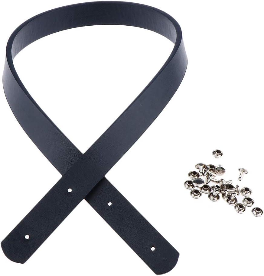 Black PU Leather Tote Bag Strap Handle Shoulder Bag Belt Handbag DIY Purse Making Accessories with Rivets