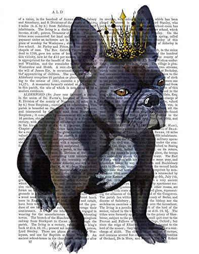 Feeling at home CANVAS-FRAMED-with-AMERICAN-BOX-French-Bulldog-King-Animals-wall-decore-on-wood-frame-Vertical-27x21_in