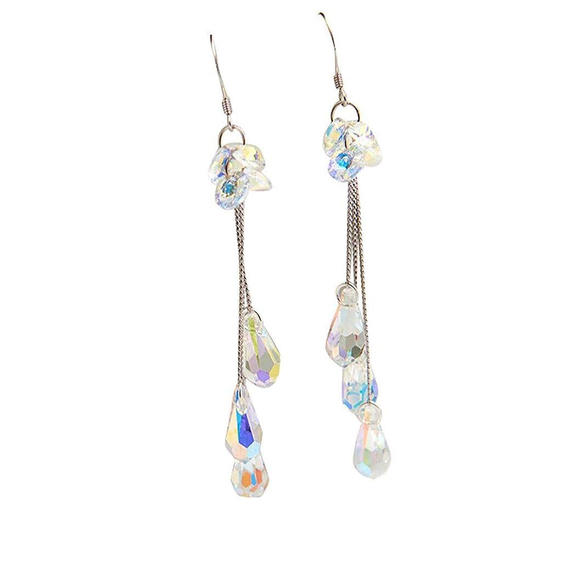 クレデンシャル教える寝室を掃除するNicircle ファッショントレンド 単純な 色 クリスタル ロングピアス レディースワイルドアクセサリー シルバー Fashion Trend Simple Color Crystal Long Earrings Ladies Wild Jewelry