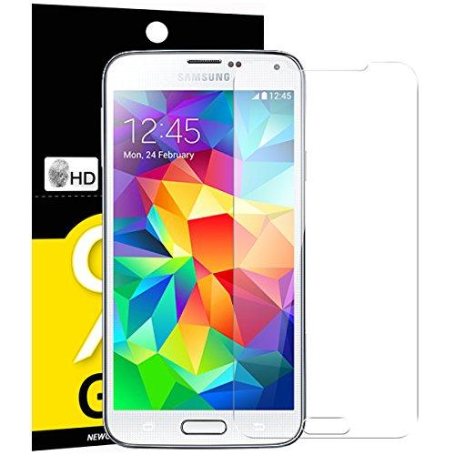 NEW\'C PanzerglasFolie Schutzfolie für Samsung Galaxy S5, Frei von Kratzern Fingabdrücken und Öl, 9H Härte, HD Displayschutzfolie, 0.33mm Ultra-klar, Displayschutzfolie Samsung Galaxy S5