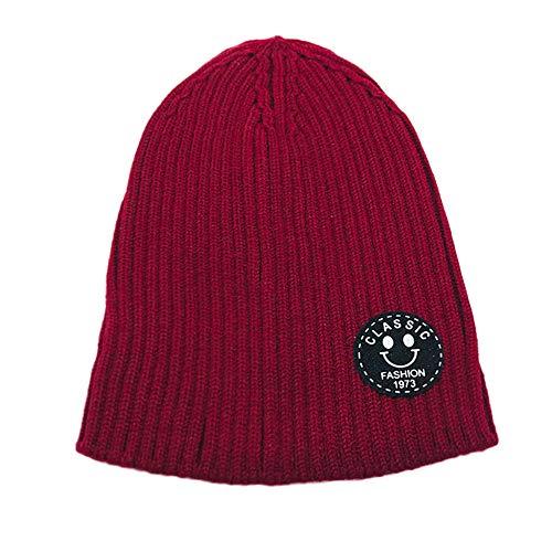 Transer ♥ Infant Bébé Beanie Fille Bonnet Coton Tricoté Bonnets De Laine Lettre Sourire Imprimer Chaud Chapeaux Enfants (Rouge)