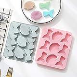 Fewear Molde de silicona de cola de pescado 3D para tartas, pudín, molde de silicona, hecho a mano, para fondant, decoración de tartas