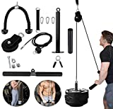 LAT Pull Down Pulley System Gym for Arm Strength Training with Loading Pin Tricep Strap Bar Cable Rope Machine for Muscle Strength Workout for Pulldowns, Biceps Curl Home