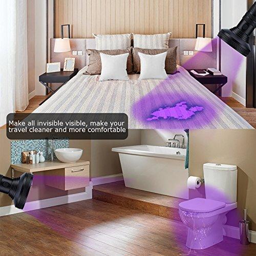 Lampe de Poche UV, Lampe Torche 100 LEDs Ultra Violet Détecteur pour Fluorescent Agent Blanchissant Urine Animale Scorpion Vérifie l'argent avec Lunettes de Sécurité à Protection Anti-UV (Nouvelle)
