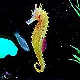 Adorno de medusa artificial, diseño de hipocampo luminoso, para acuario, decoración instantánea, con ventosa, silicona no tóxica, no daña a los peces (naranja)