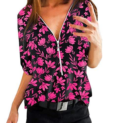 Dtuta Bluse Damen mit Reißverschluss, Langarmshirt Elegant Sweatshirt Bluse V-Ausschnitt Pullover Oberteil,Sexy Tees Sommer Bluse Tunika Herbst KleidungT-Shirt Tops