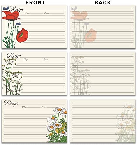 Blank Vintage Retro Elegant Flower Garden 60 Pack 4x6 Double Sided Recipe Cards Large Easy-Write Card Stock Wedding Bridal Shower Gift