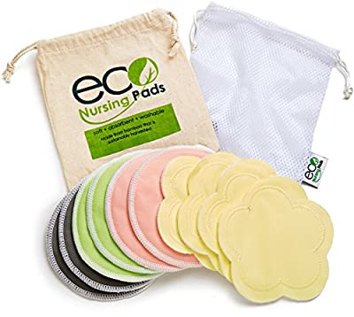 Washable Reusable Bamboo Nursing Pads | Organic Bamboo Breastfeeding Pads, Ultra-Soft Velvet Flower Pads | 10 Pack with 2 Bonus Pouches & Free E-Book | Perfect Baby Shower Gift