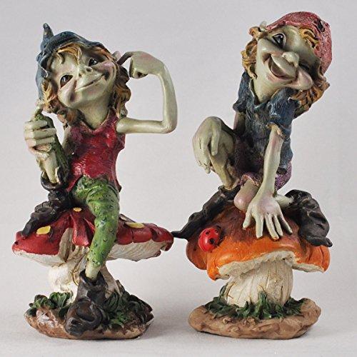 Fiesta Studios Lot de 2 sculptures lutins sur champignons magiques mystères pour décoration de jardin, lutin et fées enfants, hauteur 13 m
