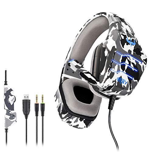 TAOXUE Auriculares Gaming PC, Cascos Gaming con Micrófono De Xbox One Estéreo 3.5Mm Jack Luz LED Bajo Ruido Auriculares Gaming Compatible con PS4/PC/Mac,Gris