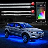 8pc 24' Under Glow Tube + 6pc 10' Interior Strips XKchrome App Control Car LED Accent Light Kit Millions of Colors Patterns Dual Zone Music Sync Smart Brake Feature