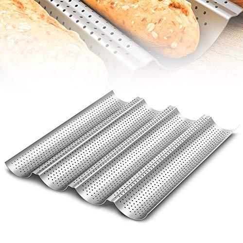 munloo Baguette-Backblech, Antihaftbeschichtung Baguette Baguetteblech Kann 4 Brote Halten, Baguette Backform für Baguettes, Brot, Langbrot (Silber)