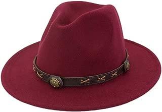Bin Zhang Men Women Wool Fedora Hat With Punk Belt Wide Brim Travel Church Cap Fascinator Jazz Hat Size 56-58CM