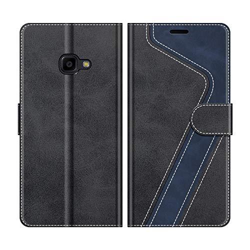 MOBESV Handyhülle für Samsung Galaxy Xcover 4 Hülle Leder, Samsung Galaxy Xcover 4 Klapphülle Handytasche Case für Samsung Galaxy Xcover 4 Handy Hüllen, Modisch Schwarz