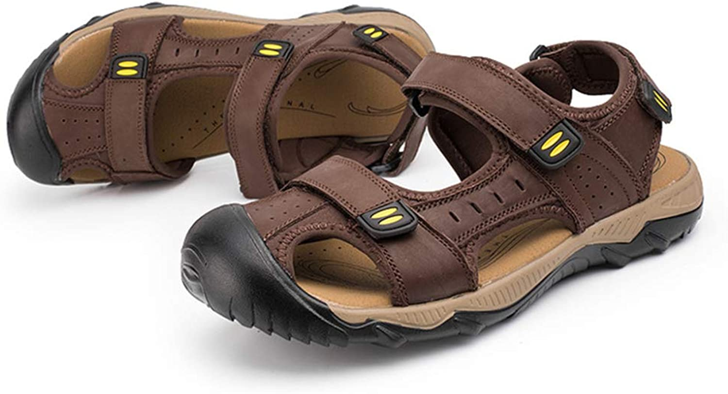 Mens Summer Leather Velcro Cutout Sport Sandals Closed Toe Casual Walking Trekking shoes Outdoor Sandals Beach SlippersFlat shoes