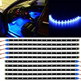 Linkstyle 10 Pack 12V Blue Waterproof Car Interior Exterior Led Strip Light 30cm 15LEDs Flexible Car Underglow Lights for Car Motorcycles Golf Cart Bicycle Decoration