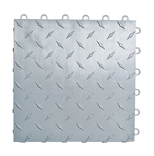 Speedway Garage Tile 789453S-50 Diamond Garage Floor 6 LOCK Diamond Tile 50 Pack, Silver