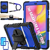 SEYMAC stock Case for Galaxy Tab A 10.1 T510/T515 2019, [Full-Body] Drop-Proof Case with 360 Degrees Rotating Stand [Pencil Holder] [Screen Protector] [Hand Strap] for Galaxy Tab A 10.1 (Blue+Black)