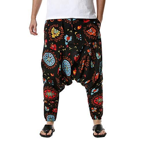 Herren Haremshose mit Gedruckten, 2021 Neue Männer Pumphose Aladinhose Pluderhose Yoga Goa Hosen Baggy Freizeithose Sportshose Yogahose