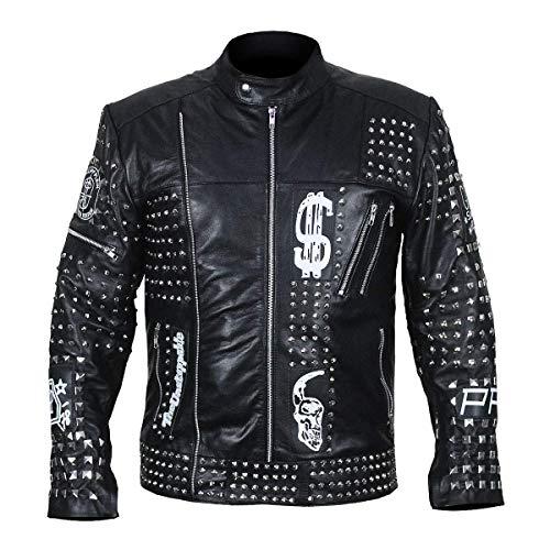 LP-FACON Chaqueta de piel para hombre, estilo retro, con doble cremallera, estilo motociclista, color negro